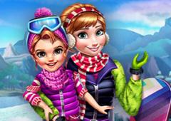 Vista Anna e Filha Para a Neve